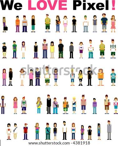 cute pixel people - stock vector