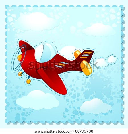Cute plane flying over the clouds, vector - stock vector