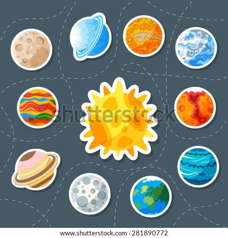 Cute planet. Sticker. saturn, mars, neptune, earth, venus, mercury, jupiter, uranus, pluto - stock vector