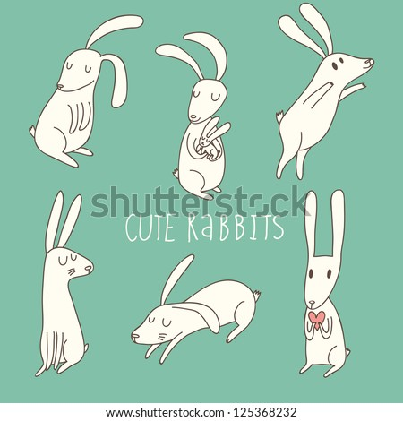 Cute playing rabbits in cartoon style - stock vector