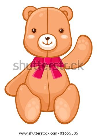 Cute plush teddy bear - stock vector