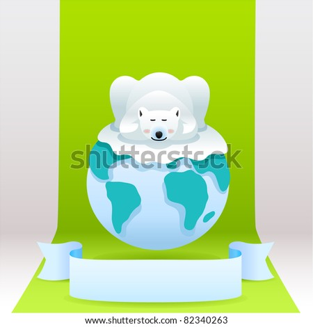 cute polar bear sleeping on the earth. vector illustration with simple gradients - stock vector