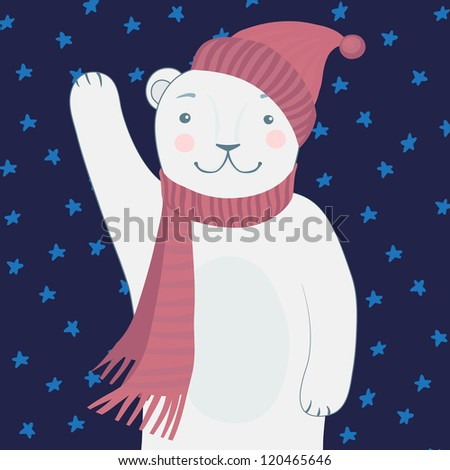 Cute Polar Bear - Vector illustration