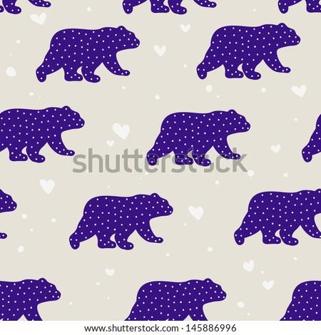 Cute Polar Bears. Cartoon seamless pattern in vector. - stock vector