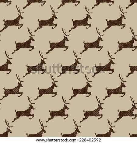 Cute Polar Deer. Christmas seamless pattern in vector. - stock vector