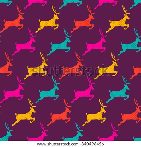 Cute Polar Deer. Christmas seamless pattern in vector. Funny cartoon illustration. - stock vector