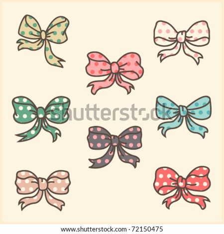Cute polka dot ribbons - stock vector