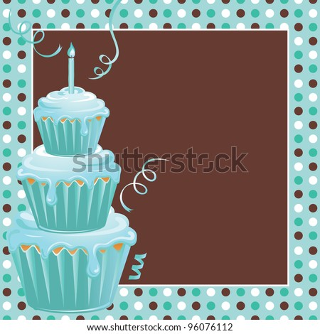 Cute polkadot background with three teal frosted stacked cupcakes and candle welcome your guests to this 1st birthday party. Great for triplets on their first birthday or just one child. - stock vector