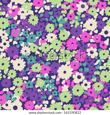 cute popcorn floral ~ seamless background - stock vector