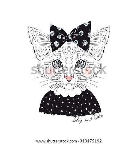 cute portrait of shy cat girl hipster, hand drawn graphic, kid print - stock vector