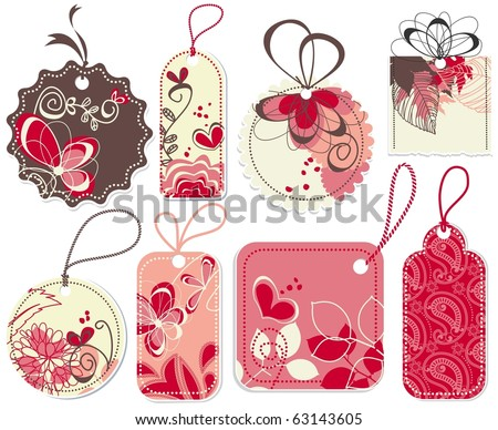 Cute price tags collection, flowers and hearts ornaments - stock vector