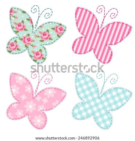 Cute primitive retro butterflies as textile patch applique - stock vector