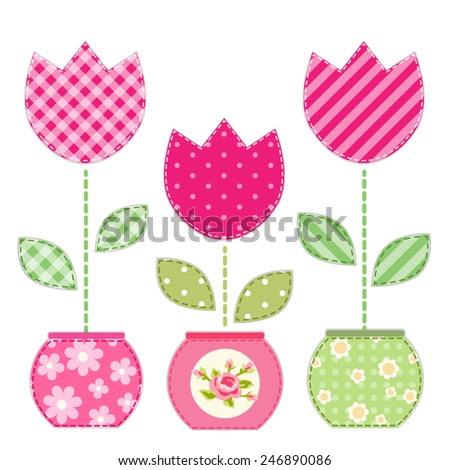 Cute primitive retro tulips in flowerpots as patch applique - stock vector