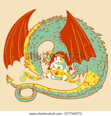 Cute princess and dragon reads scroll  - stock vector