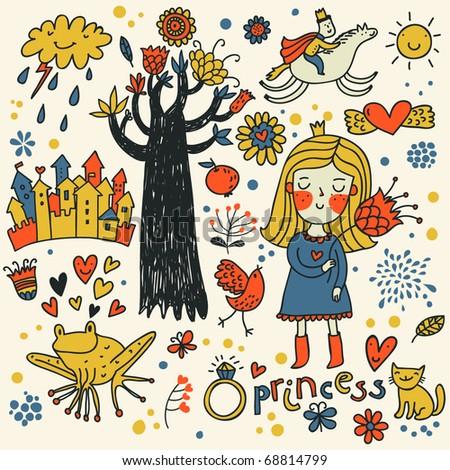Cute princess doodle set in color - stock vector
