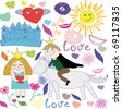 Cute princess & prince doodle set with flower & heart - stock vector