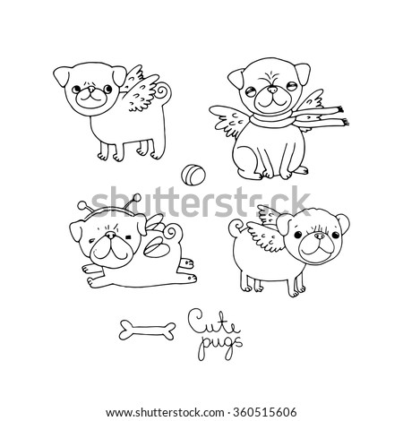 Cute Pugs. Dogs. Hand drawing isolated objects on white background. Vector illustration. - stock vector