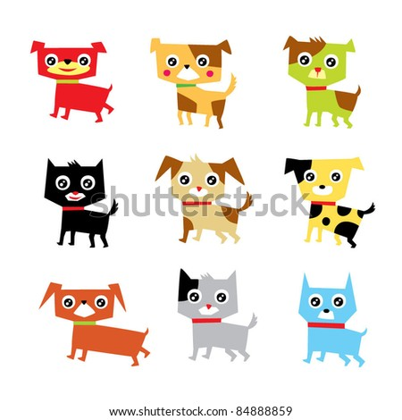 cute puppies - stock vector