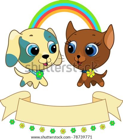 Cute puppy and kitten vector illustration - stock vector
