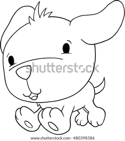 Cute Puppy Dog Doodle Vector Illustration Art
