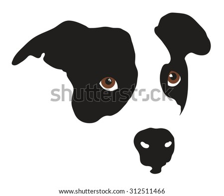 Cute Puppy Dog Face in Black and White - stock vector