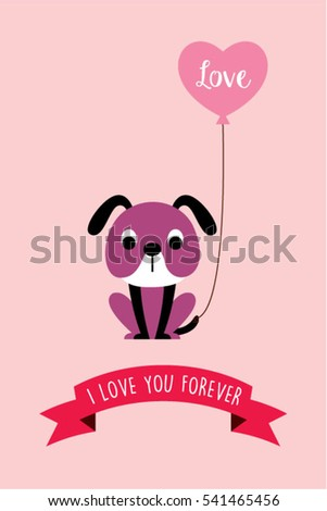 cute puppy dog valentine greeting card vector