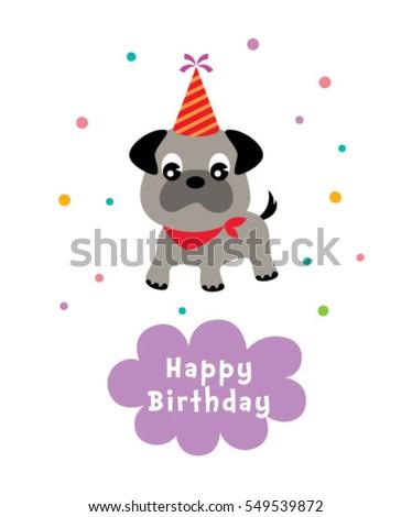 Cute Puppy Happy Birthday Greeting Card Stock Vector 549539872