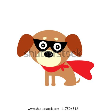 cute puppy hero - stock vector