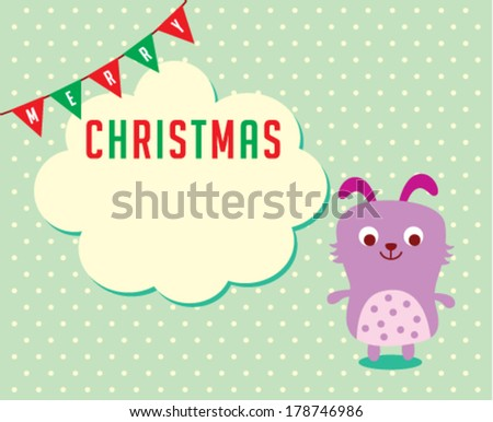 cute puppy merry christmas greeting card - stock vector