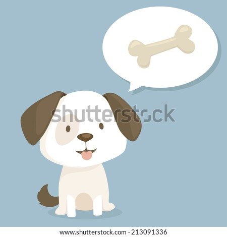 Cute puppy thinking about sweet bone, vector illustration - stock vector