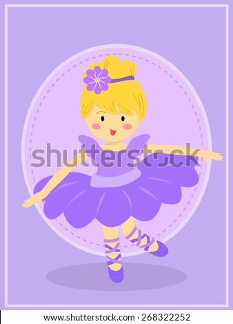 Cute Purple Ballerina Girl. Ballerina girl with purple dress tutu dancing ballet in purple theme background. - stock vector