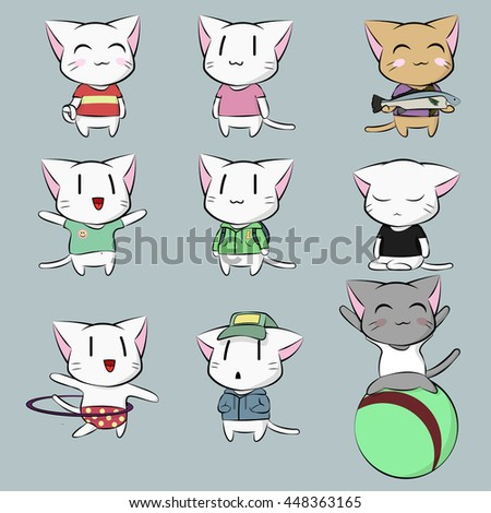 Cute Pussy Cats Emotions Set Charming Stock Vector 448363165 ...