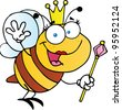 Cute Queen Bee Waving. Vector illustration with simple gradients.Jpeg version also available - stock vector