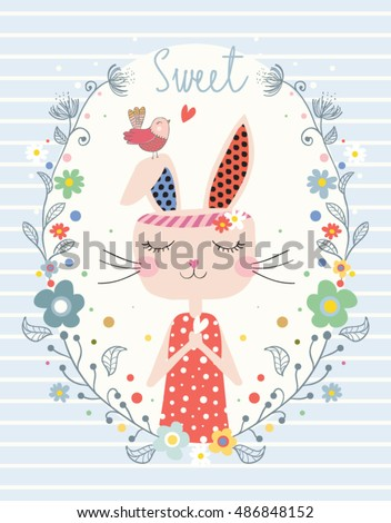cute rabbit/girl vector/cartoon bunny/Book illustrations for children/Romantic hand drawing poster/cartoon character/For apparel or other uses in vector.