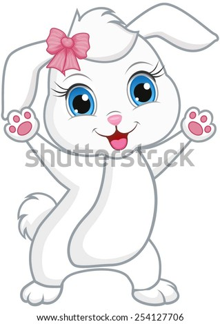 Cute rabbit with spread hands and a pink bow in hair. - stock vector