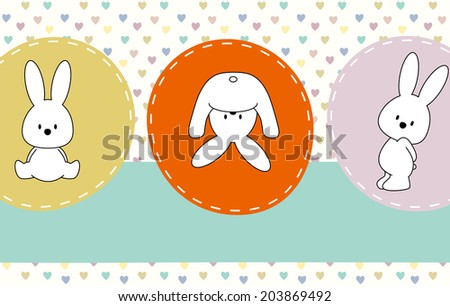 cute rabbits, greeting card  - stock vector