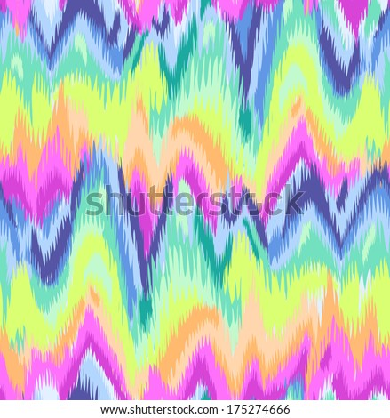 Cute Rainbow Ikat chevron print ~ seamless background - stock vector