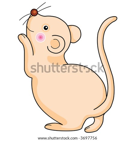 Cute rat character vertor illustration.
