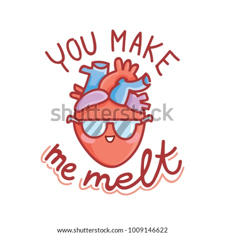 Cute real anatomic heart character with eyes in love with lettering text you make me