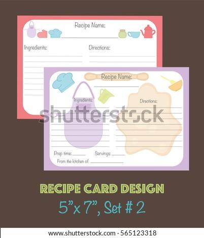 Cute Recipe Cards Set Vector Template Design
