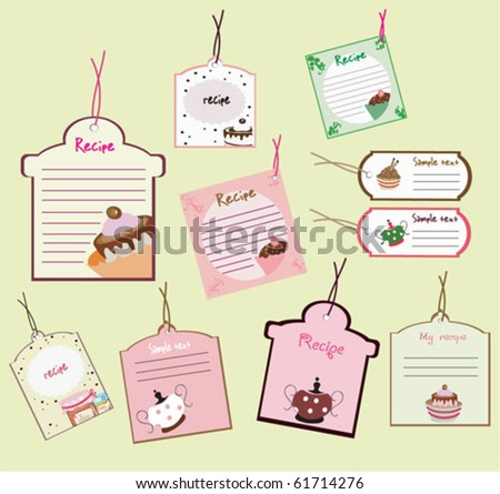 cute recipe tags - stock vector
