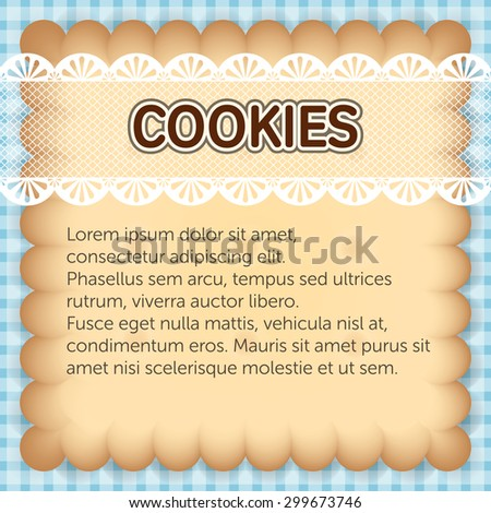 cute rectangle cookies with lace on blue background banner or card template