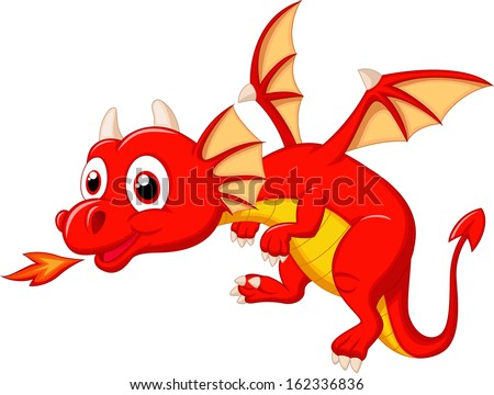 Cute red dragon flying - stock vector