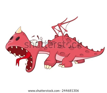 Cute red dragon vector illustration. Cartoon  - stock vector