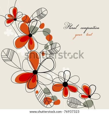 Cute red flowers background - stock vector
