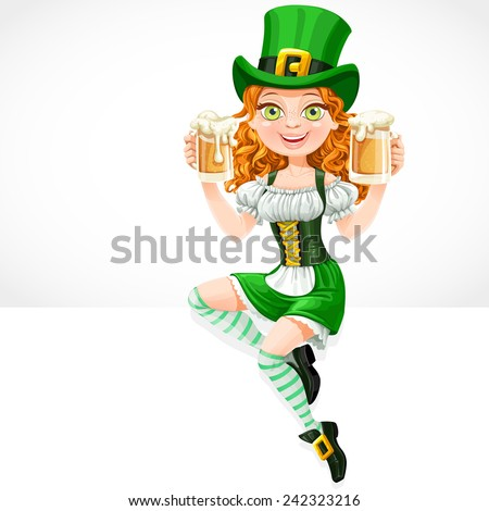 Cute red-haired girl leprechaun sitting on the banner white and offers a beer