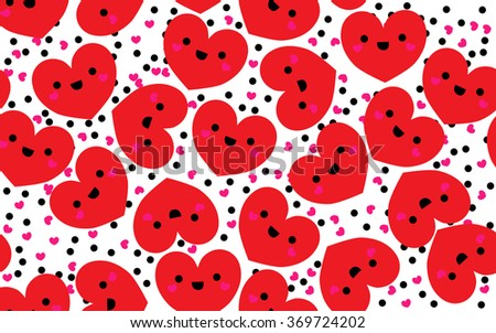 cute Red hearts seamless pattern. Valentine's day vector