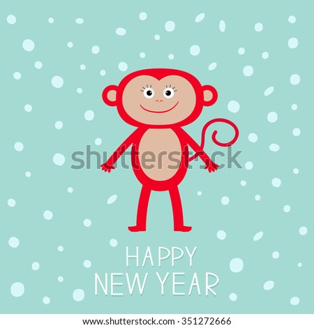 Cute red monkey on snow background. Happy New Year 2016.  Baby illustration. Greeting card  Flat design. Vector illustration
