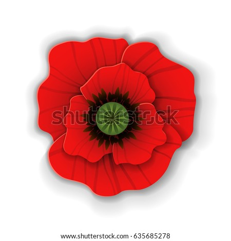 Cute red poppy flower paper art stock vector royalty free cute red poppy flower in paper art style isolated on white background origami poppy mightylinksfo