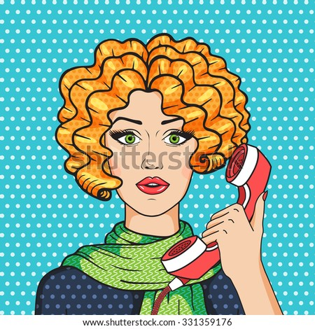Cute redhead woman talking on the phone pop art comic style vector illustration, vintage redhead girl in green scarf. - stock vector